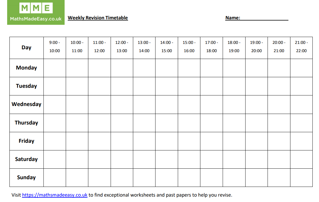 Revision Timetable