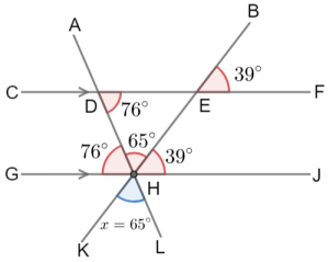 unknown angle in a triangle question answer