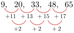 Quadratic Sequence Find Second Common Difference n^2 Coefficient