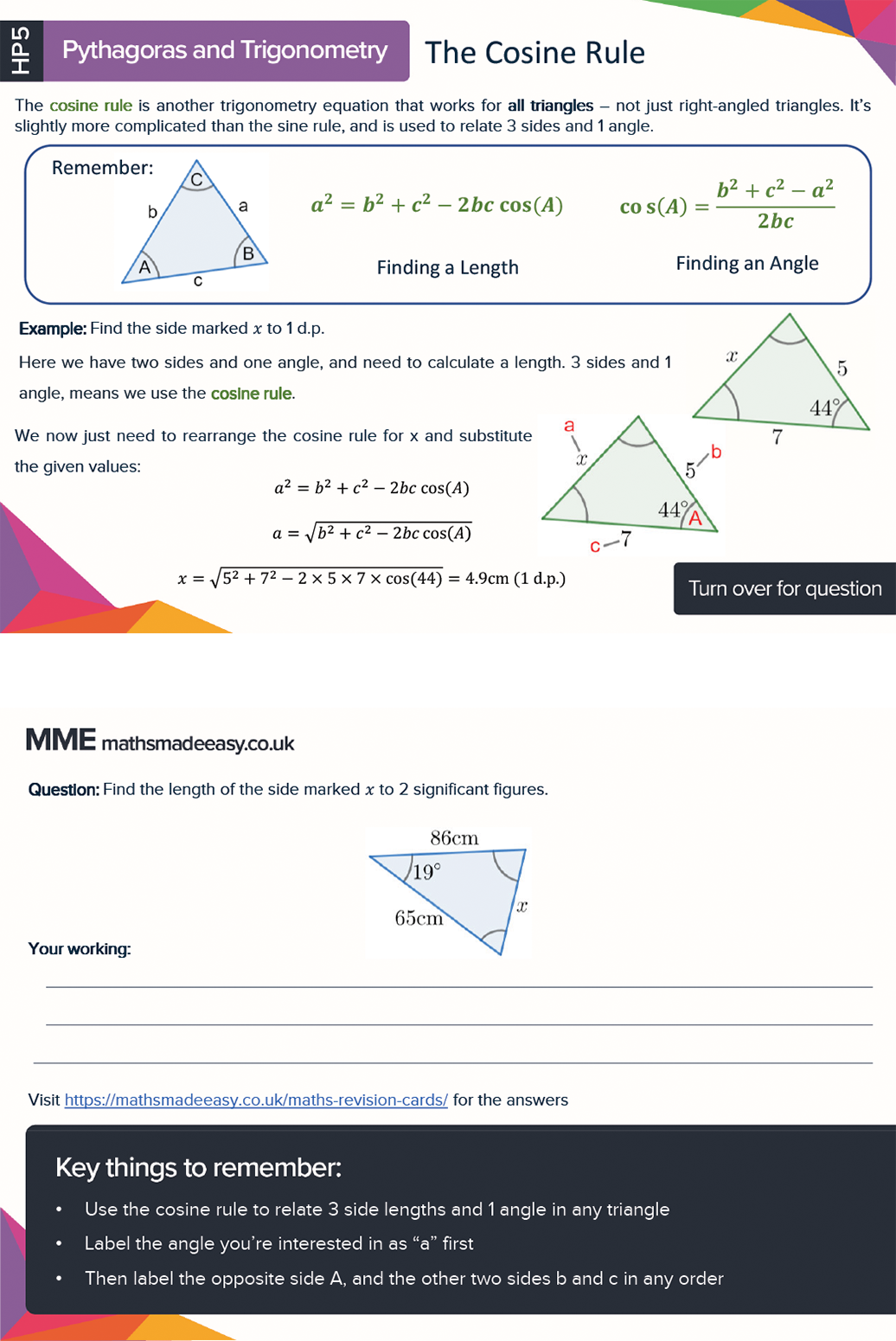 More features of GCSE Maths revision cards