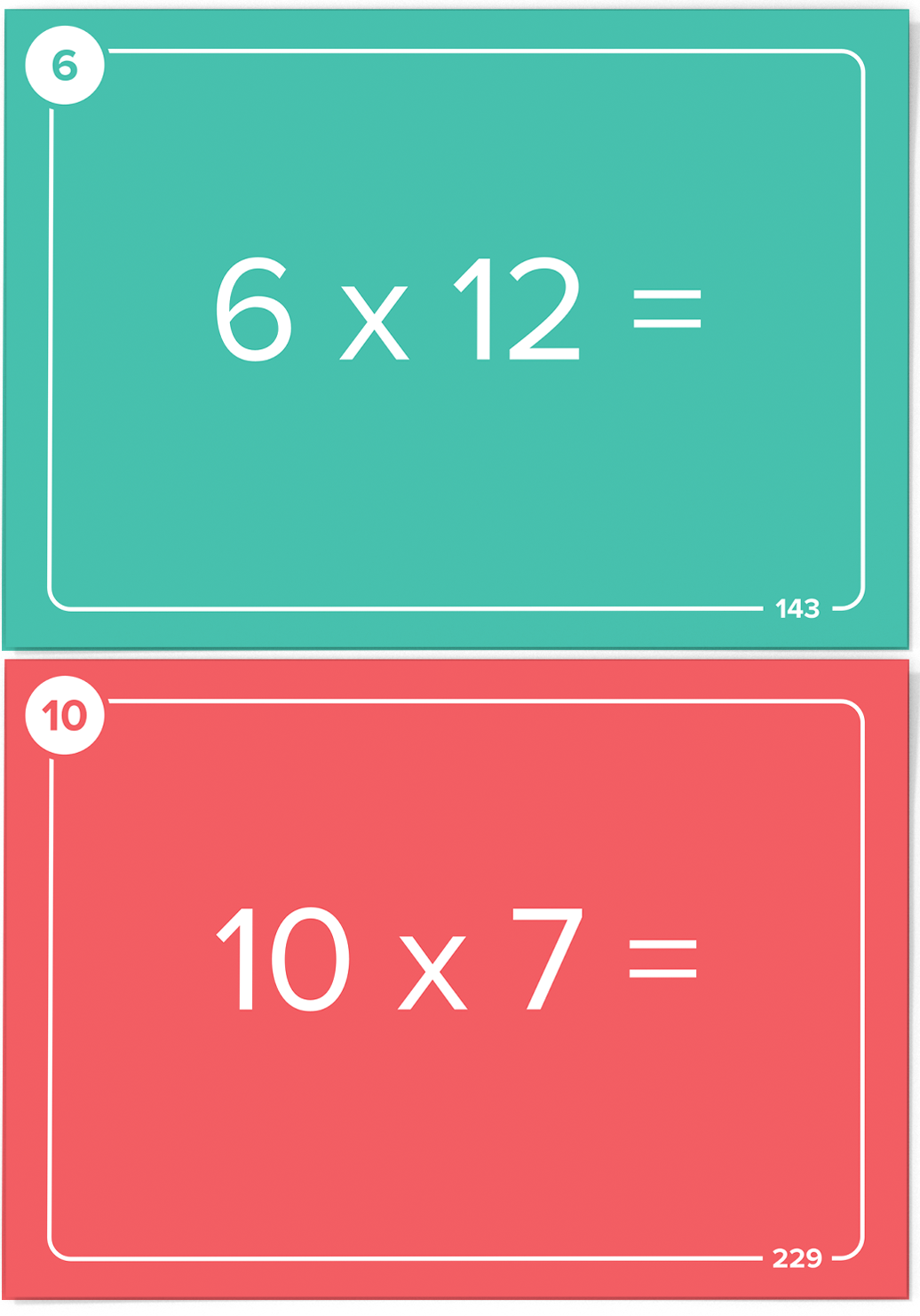 More features of Times Table Flash Cards