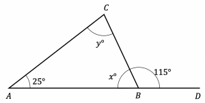 unknown angle on straight line with triangle