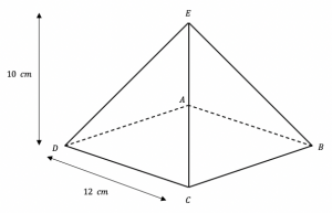 surface area of 3d shapes example 5 square based pyramid