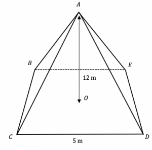 volume of 3d shapes example 2 square based pyramid