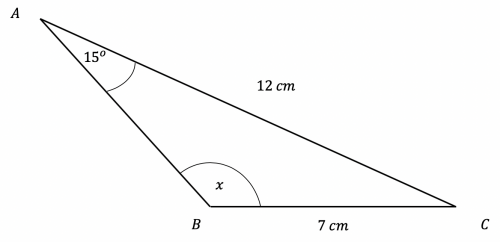 Sine rule to find an Angle