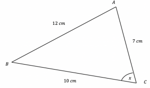 Cosine rule to find an Angle