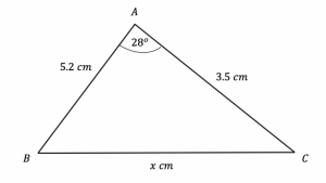 Cosine rule to find a length