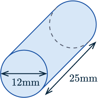 surface area of cylinder example