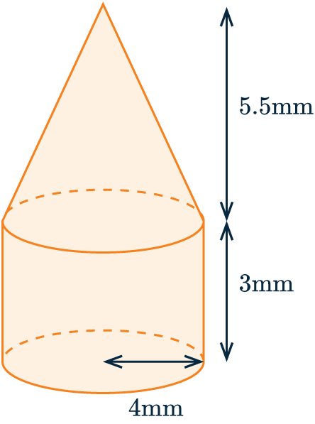volume of composite shapes cylinder and cone